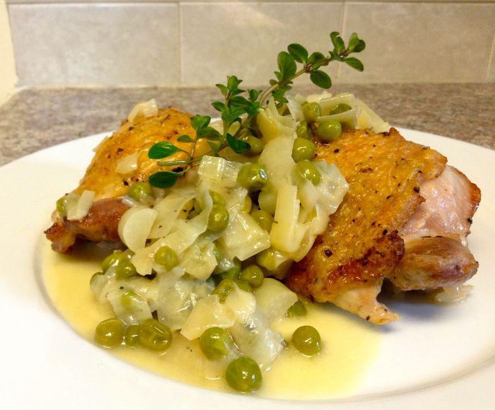 White Vinegar-Braised Chicken Thighs with Leeks & Peas