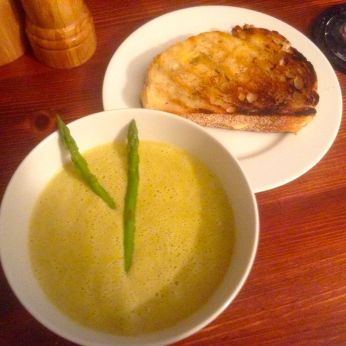 Grilled Three Cheese Sandwich with Asparagus Soup