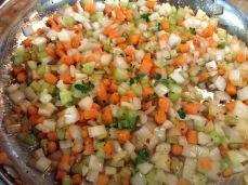 Carrots, celery, onions, herbs, etc.