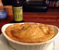 Sausage Pot Pie with Flying Fish's Hopfish IPA