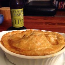 Sausage Pot Pie with Flying Fish's Hopfish IPA