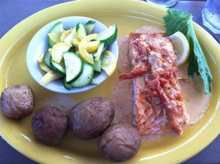 Broiled Atlantic Salmon in Sundried Tomato Cream Sauce with Salt Potatoes