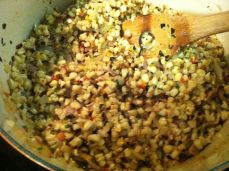 Bacon-->Onions-->Corn mixture