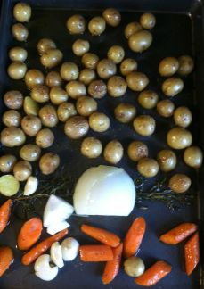 In go the onions and garlic.