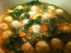 Kale and Chicken Meatball Soup