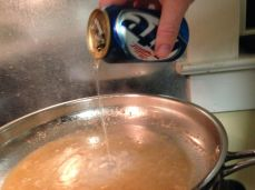 Deglaze the pan with beer. Fancy beer.