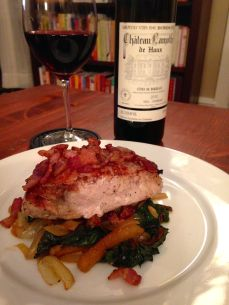 Pork Loin with Spinach and Bacon with Wine