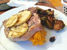 Apple Grilled Pork and Smashed Sweet Potatoes