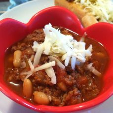 Red and White Bean Chili plus a Chili Dog