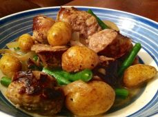 Sausage with Spring Potatoes and Green Beans